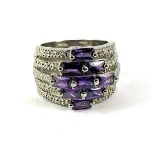 Stunning Silver Amethyst Vintage Ring Size 7